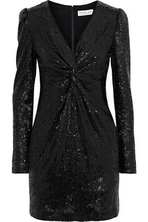 RACHEL ZOE Lou twist-front sequined stretch-knit mini dress