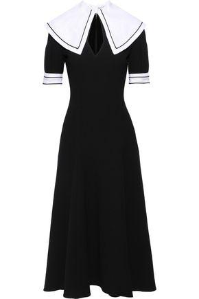 EMILIA WICKSTEAD Sabine linen-paneled wool-crepe midi dress
