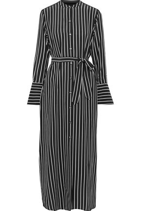 EQUIPMENT Connell belted striped silk maxi shirt dress