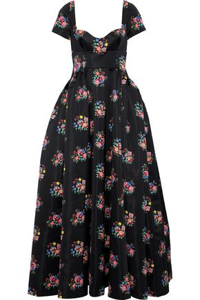 EMILIA WICKSTEAD Diamond open-back floral-print duchesse-satin gown