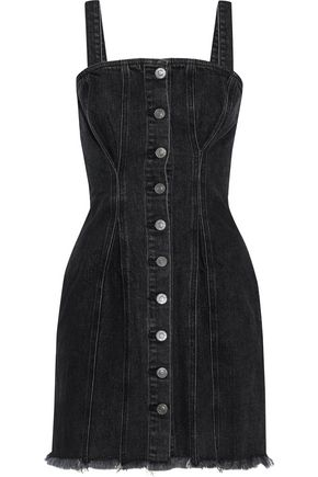 CURRENT/ELLIOTT The Corset frayed denim mini dress