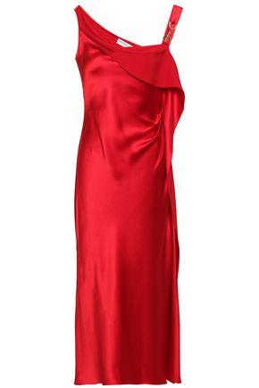 AMANDA WAKELEY Embellished draped silk midi dress