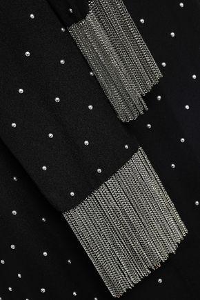 MICHAEL KORS COLLECTION Fringe-trimmed studded silk-crepe top