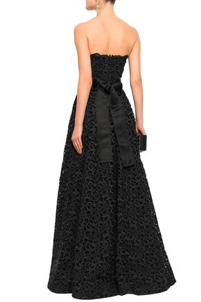 DOLCE & GABBANA Flared satin-trimmed cotton-blend guipure lace gown