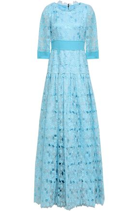 DOLCE & GABBANA Gathered embroidered cotton-blend organza gown