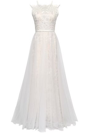 CATHERINE DEANE Pleated embellished tulle and lace bridal gown