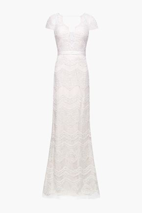 CATHERINE DEANE Open-back embroidered lace bridal gown
