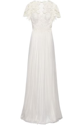CATHERINE DEANE Open-back pleated silk and guipure lace bridal gown