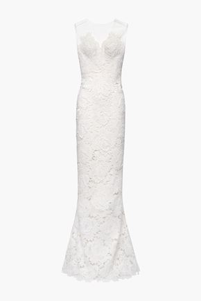 CATHERINE DEANE Fluted guipure lace and tulle bridal gown