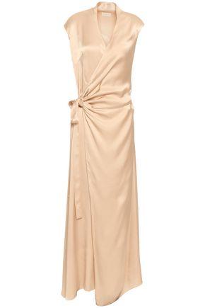LES HÉROÏNES Crepe-satin maxi wrap dress