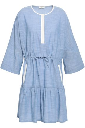 JOIE Gathered cotton-chambray dress