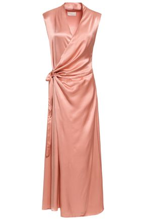 LES HÉROÏNES by VANESSA COCCHIARO Crepe-satin maxi wrap dress