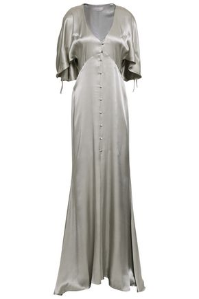 LES HÉROÏNES by VANESSA COCCHIARO The Hedy button-detailed metallic satin gown