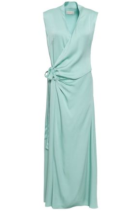 LES HÉROÏNES Crepe-satin maxi wrap dress