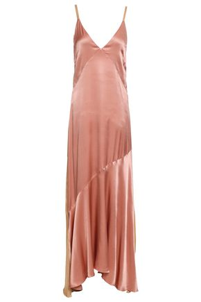 LES HÉROÏNES by VANESSA COCCHIARO Two-tone crepe-satin maxi slip dress