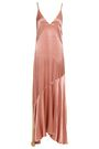 LES HÉROÏNES by VANESSA COCCHIARO Two-tone crepe-satin maxi slip dress