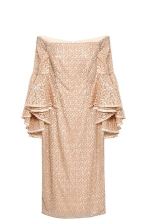 MILLY Off-the-shoulder embroidered sequined tulle midi dress