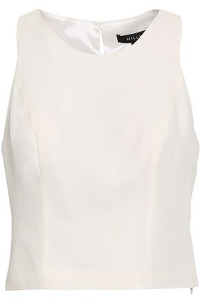 MILLY Cropped silk-crepe top