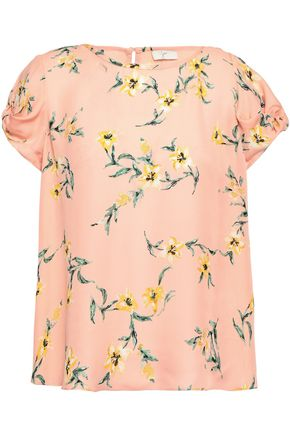 JOIE | Joie Knotted Floral-Print Silk Crepe De Chine Top | Goxip