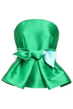 MILLY Strapless duchesse satin peplum top