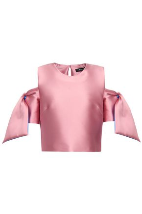 MILLY Cropped off-the-shoulder duchesse-satin top