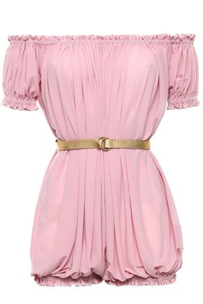 NORMA KAMALI Off-the-shoulder belted jersey playsuit