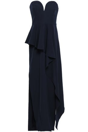 MILLY Strapless draped crepe gown