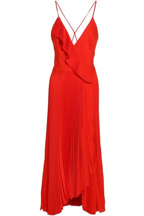 MILLY Wrap-effect pleated stretch-silk midi dress