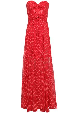 MILLY Cutout twist-front polka-dot silk-georgette gown