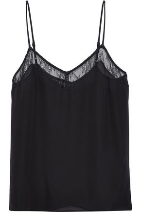 EQUIPMENT Layla lace-trimmed silk-chiffon camisole