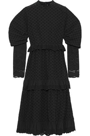 GOEN.J Tiered broderie anglaise cotton midi dress