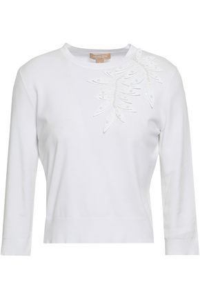 MICHAEL KORS COLLECTION Embellished embroidered knitted top