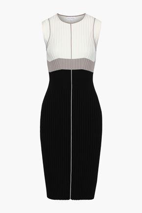 NARCISO RODRIGUEZ Color-block ribbed-knit dress