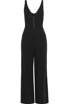 NARCISO RODRIGUEZ | Narciso Rodriguez Leather-Trimmed Cutout Wool-Crepe Jumpsuit | Goxip