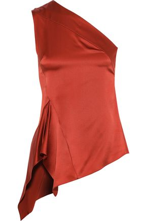NARCISO RODRIGUEZ One-shoulder asymmetric silk-satin top
