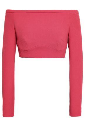 EMILIA WICKSTEAD Cropped off-the-shoulder wool-crepe top