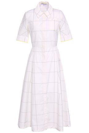 EMILIA WICKSTEAD Fluted checked cotton-poplin midi shirt dress