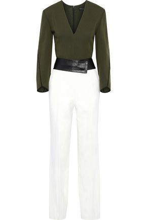 NARCISO RODRIGUEZ Belted two-tone wool-crepe jumpsuit