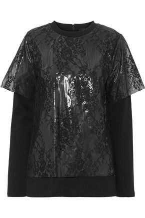 GOEN.J Layered lace, PVC and cotton-jersey T-shirt