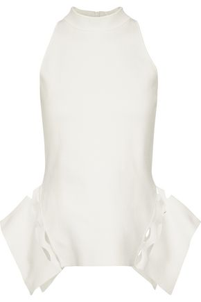 ROLAND MOURET Barmston laser-cut stretch-knit top