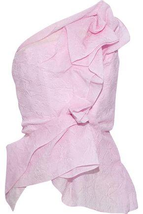 ROLAND MOURET Hankow one-shoulder ruffled silk-blend cloqué top
