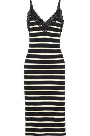 GOEN.J Crochet-trimmed striped French cotton-terry slip dress