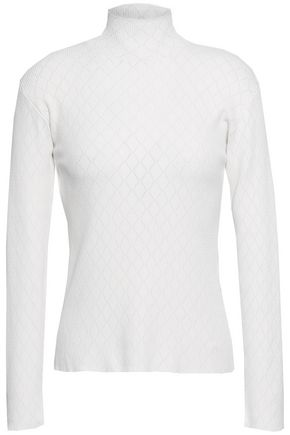 CEDRIC CHARLIER Ribbed pointelle-knit turtleneck top