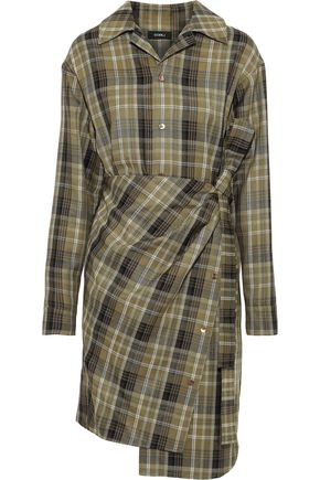 GOEN.J Wrap-effect checked twill dress