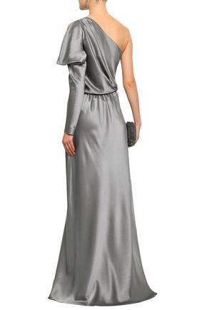 ALBERTA FERRETTI One-shoulder cutout silk-satin gown