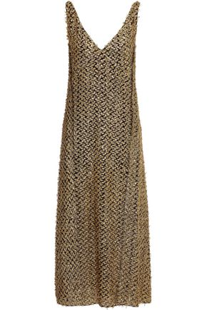 ROLAND MOURET Mallick cutout metallic fil coupé chiffon midi dress