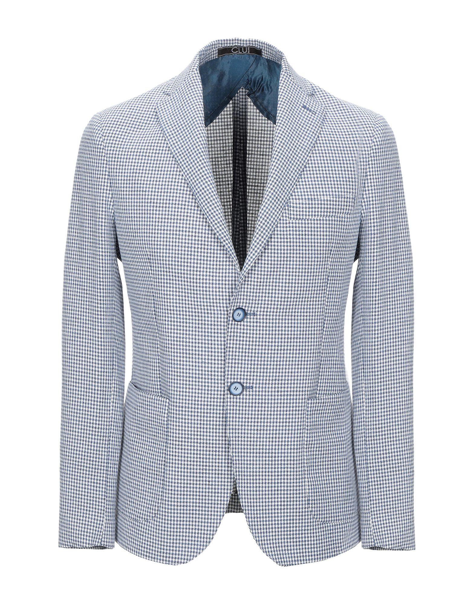 《送料無料》CLU メンズ テーラードジャケット ブルー 46 コットン 70% / レーヨン 30%