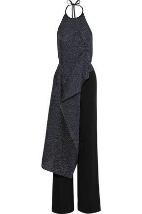 ROLAND MOURET Bennett draped metallic cloqué and crepe halterneck jumpsuit