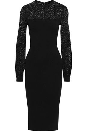 ROLAND MOURET Simmons crochet and stretch-knit dress