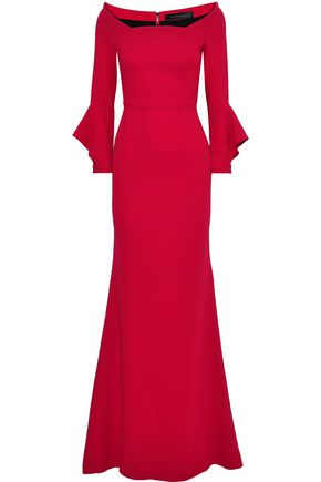 ROLAND MOURET Coleman fluted stretch-crepe gown